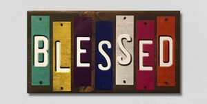 Blessed Wholesale Novelty Colored Strips Wood Sign WS-125