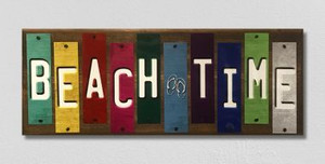 Beach Time Wholesale Novelty Colored Strips Wood Sign