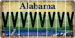 Alabama V Cut License Plate Strips (Set of 8) LPS-AL1-022