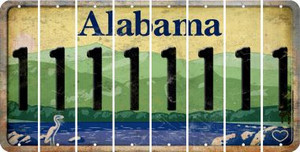 Alabama 1 Cut License Plate Strips (Set of 8) LPS-AL1-028