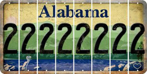 Alabama 2 Cut License Plate Strips (Set of 8) LPS-AL1-029