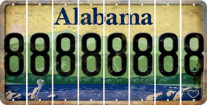 Alabama 8 Cut License Plate Strips (Set of 8)