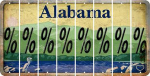 Alabama PERCENT SIGN Cut License Plate Strips (Set of 8) LPS-AL1-046