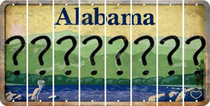 Alabama QUESTION MARK Cut License Plate Strips (Set of 8) LPS-AL1-047