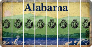 Alabama HAND GRENADE Cut License Plate Strips (Set of 8) LPS-AL1-050