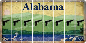 Alabama HANDGUN Cut License Plate Strips (Set of 8) LPS-AL1-051