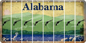 Alabama PISTOL Cut License Plate Strips (Set of 8) LPS-AL1-053