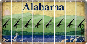 Alabama SUBMACHINE GUN Cut License Plate Strips (Set of 8) LPS-AL1-055