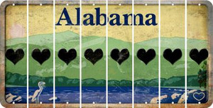 Alabama HEART Cut License Plate Strips (Set of 8) LPS-AL1-081