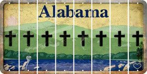 Alabama CROSS Cut License Plate Strips (Set of 8) LPS-AL1-083