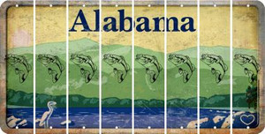 Alabama FISH Cut License Plate Strips (Set of 8)