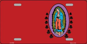 Virgin Mary Red Background Wholesale Metal Novelty License Plate LP-4190