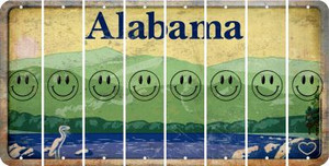 Alabama SMILEY FACE Cut License Plate Strips (Set of 8) LPS-AL1-089