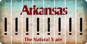 Arkansas EXCLAMATION POINT Cut License Plate Strips (Set of 8) LPS-AR1-041