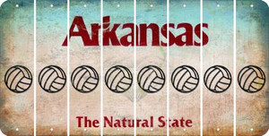 Arkansas VOLLEYBALL Cut License Plate Strips (Set of 8) LPS-AR1-065