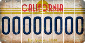 California 0 Cut License Plate Strips (Set of 8) LPS-CA1-027