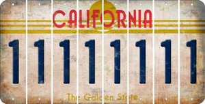 California 1 Cut License Plate Strips (Set of 8) LPS-CA1-028