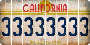 California 3 Cut License Plate Strips (Set of 8) LPS-CA1-030
