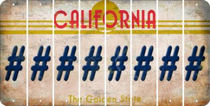 California HASHTAG Cut License Plate Strips (Set of 8) LPS-CA1-043