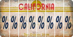 California PERCENT SIGN Cut License Plate Strips (Set of 8) LPS-CA1-046