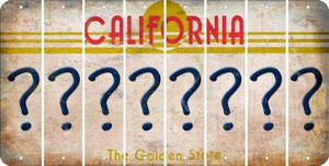California QUESTION MARK Cut License Plate Strips (Set of 8) LPS-CA1-047