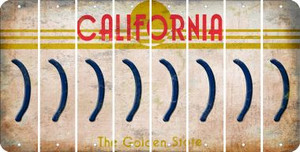 California RIGHT PARENTHESIS Cut License Plate Strips (Set of 8) LPS-CA1-048
