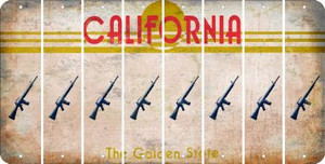 California M16 RIFLE Cut License Plate Strips (Set of 8) LPS-CA1-052