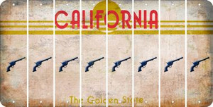 California PISTOL Cut License Plate Strips (Set of 8) LPS-CA1-053