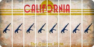 California SUBMACHINE GUN Cut License Plate Strips (Set of 8) LPS-CA1-055