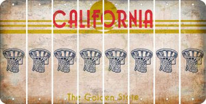 California BASKETBALL HOOP Cut License Plate Strips (Set of 8) LPS-CA1-058