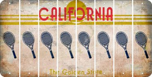 California TENNIS Cut License Plate Strips (Set of 8) LPS-CA1-064