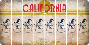 California SNOWMAN Cut License Plate Strips (Set of 8) LPS-CA1-079
