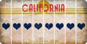 California HEART Cut License Plate Strips (Set of 8) LPS-CA1-081