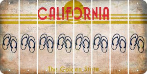 California FLIP FLOPS Cut License Plate Strips (Set of 8) LPS-CA1-085