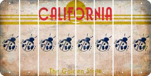 California LADYBUG Cut License Plate Strips (Set of 8) LPS-CA1-087