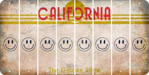 California SMILEY FACE Cut License Plate Strips (Set of 8) LPS-CA1-089