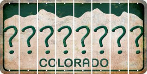 Colorado QUESTION MARK Cut License Plate Strips (Set of 8) LPS-CO1-047