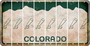 Colorado BASEBALL WITH BAT Cut License Plate Strips (Set of 8) LPS-CO1-057