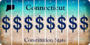 Connecticut DOLLAR SIGN Cut License Plate Strips (Set of 8) LPS-CT1-040