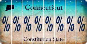 Connecticut PERCENT SIGN Cut License Plate Strips (Set of 8) LPS-CT1-046