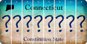 Connecticut QUESTION MARK Cut License Plate Strips (Set of 8) LPS-CT1-047
