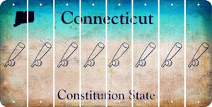 Connecticut BASEBALL WITH BAT Cut License Plate Strips (Set of 8) LPS-CT1-057
