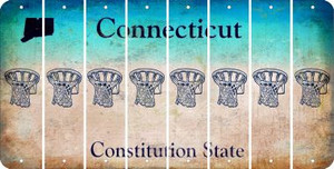 Connecticut BASKETBALL HOOP Cut License Plate Strips (Set of 8) LPS-CT1-058