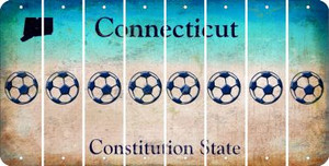 Connecticut SOCCERBALL Cut License Plate Strips (Set of 8) LPS-CT1-061