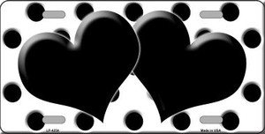 Black White Polka Dot Print With Black Centered Hearts Wholesale Novelty License Plate LP-4254