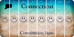 Connecticut SMILEY FACE Cut License Plate Strips (Set of 8) LPS-CT1-089
