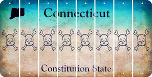 Connecticut SKULL Cut License Plate Strips (Set of 8) LPS-CT1-092
