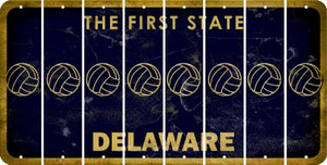 Delaware VOLLEYBALL Cut License Plate Strips (Set of 8) LPS-DE1-065