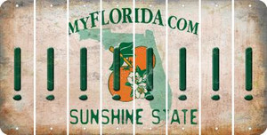 Florida EXCLAMATION POINT Cut License Plate Strips (Set of 8) LPS-FL1-041