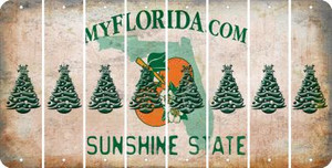 Florida CHRISTMAS TREE Cut License Plate Strips (Set of 8) LPS-FL1-077